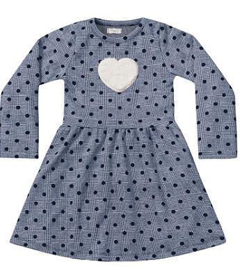 Vestido manga longa jacquard xadrez azul com coração