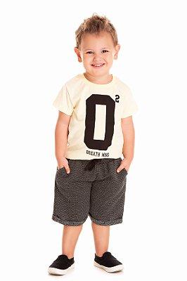 Conjunto infantil menino camiseta listras e bermuda moletinho
