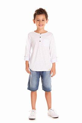 Camiseta meia malha flamê com manga martingale