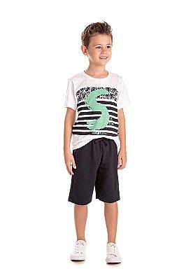 Conjunto infantil menino com camiseta e bermuda moletinho