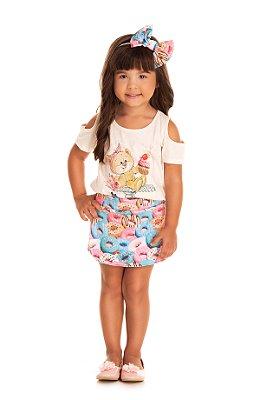 Conjunto infantil menina com short-saia neoprene
