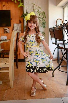 Vestido infantil floral com amarelo limão