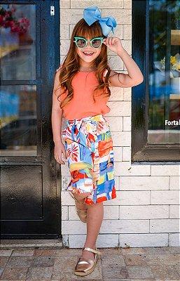 Conjunto infantil menina com pantacourt estampado