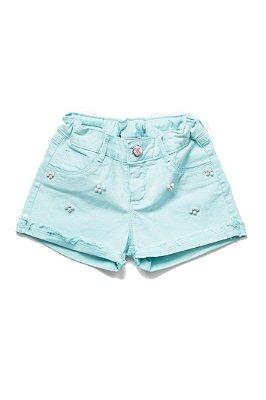 Shorts infantil feminino verde água