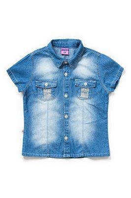 Camisa infantil feminina jeans