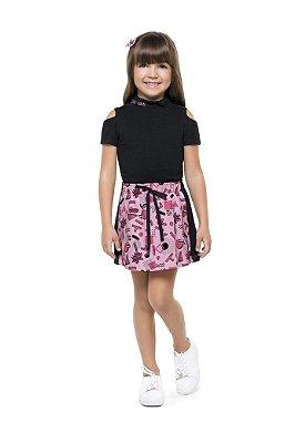 Conjunto infantil feminino com saia moletinho