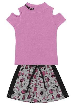 Conjunto infantil feminino com saia moletinho mescla