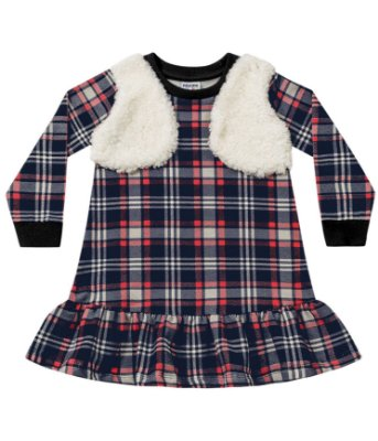 Vestido infantil xadrez