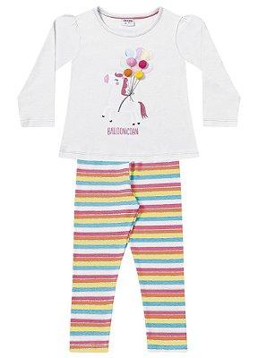 Conjunto infantil unicórnio com legging