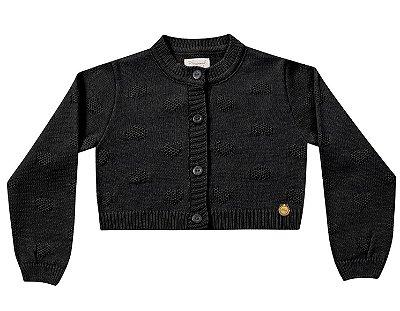 Bolero infantil tricô preto