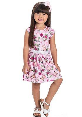 Vestido infantil ursos e flores