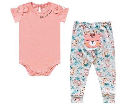 Conjunto body e calça bebê menina
