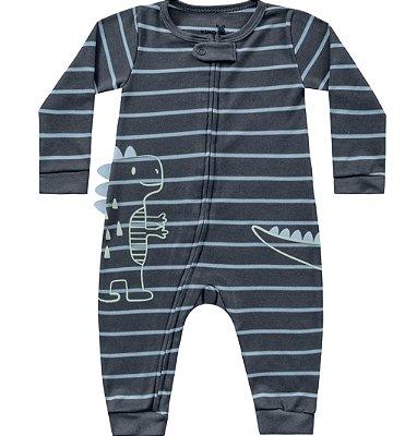 Macacão manga longa bebê menino dino
