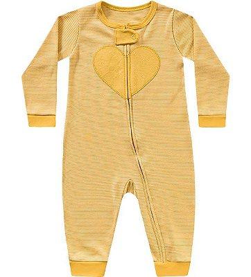 Macacão manga longa bebê menina coração