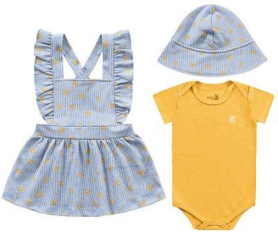 Conjunto body salopete e chapéu bebê menina