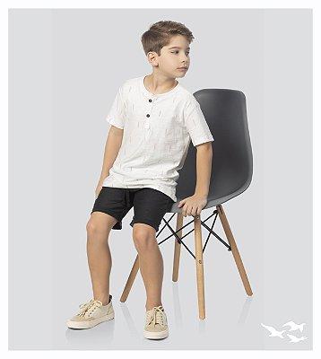 Conjunto infantil masculino com camiseta detalhe peitilho