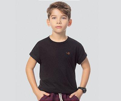 Camiseta básica infantil masculina preta