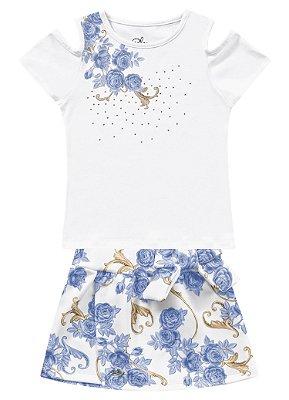 Conjunto infantil feminino branco e azul