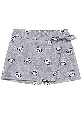 Short saia infantil mescla panda