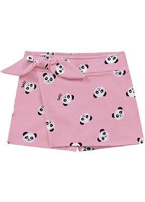 Short saia infantil rosa panda
