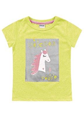 Blusa infantil feminina amarelo flúor