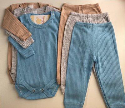 Kit conjunto básico bebê body e calça