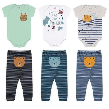 Kit 3 lookinhos - body e calça bebê menino bichinhos