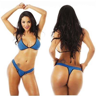 Conjunto lingerie sexy calcinha sutiã onça azul