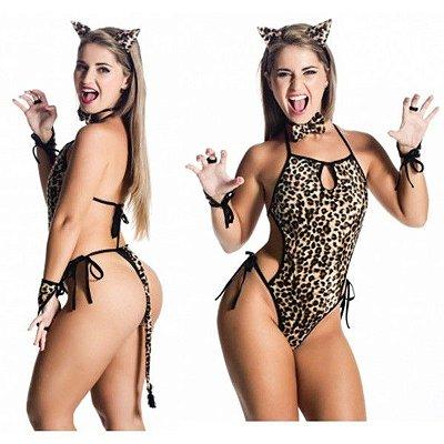 Fantasia sensual body felina onça pintada