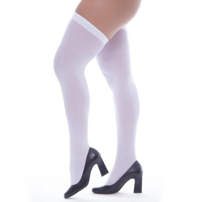 Meia calça fina renda com pé  7/8 - cor branca