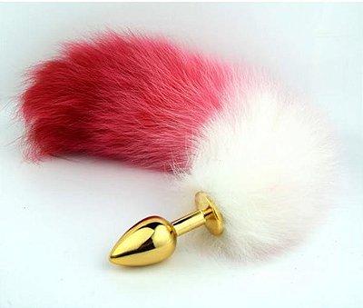 Plug anal rabo de raposa polar branco e vermelho (plug  pequeno 7.5 x 2.8 cm - dourado) - cosplay