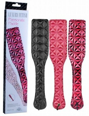 Passionate Paddle - Palmatória de luxo em couro ecológico e vinil chibata chicote - preta