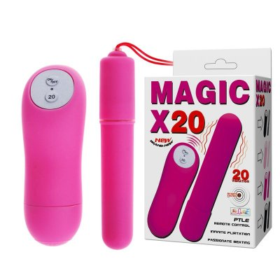 MAGIC X20 - CÁPSULA BULLET COM 20 NÍVEIS DE VIBRAÇÃO E CONTROLE SEM FIO EM SILICONE MACIO, À PROVA D'ÁGUA - 6,5 X 1,9 CM