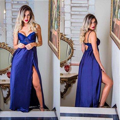Camisola Longa Em Cetim E Renda,calcinha Fio - cor azul