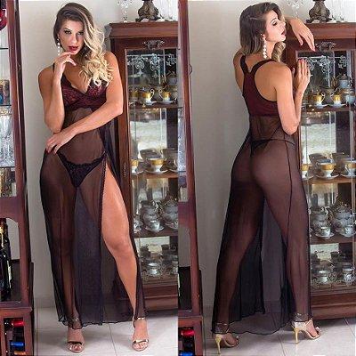 Camisola Longa Em Tule E Renda , Calcinha Fio - cor preta