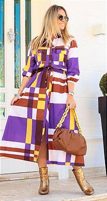 Vestido Tricoline Xadrez c/ Botões e Fenda Sabrina | DNA BLESSED