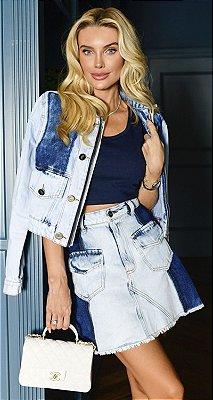 Mini Saia Jeans Bolso Frontal Hong Kong   NEXT STOP BLESSED