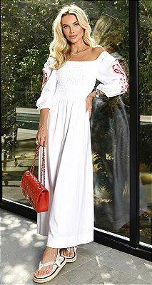 Vestido Malha de Algodão Manga Bordada Marselha | NEXT STOP BLESSED