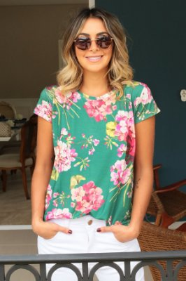 ESPECIAL SALE | Blusa T-shirt Flores Verde