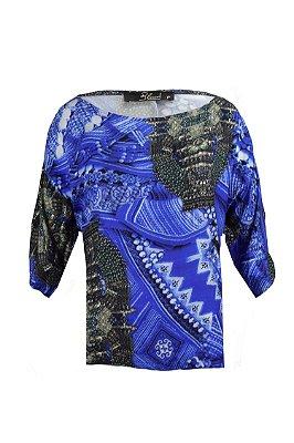 SALE| Blusa Plissada Estampa Azul