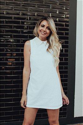 OUTLET | Vestido Lese Gola Branco