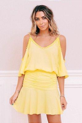 Vestido Ombro Vazado Detalhe Amarelo