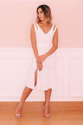 Vestido Mid White Detalhe Tranças