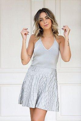 Vestido tricô frente única prata