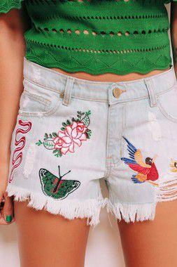 OUTLET   Shorts Jeans Bordados Mistos