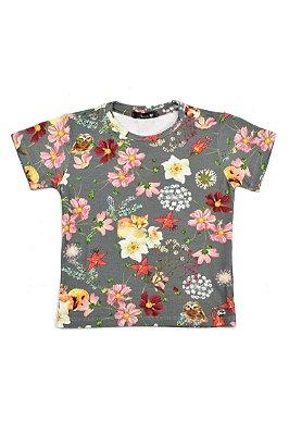 T-shirt Blessinha Flores Coruja