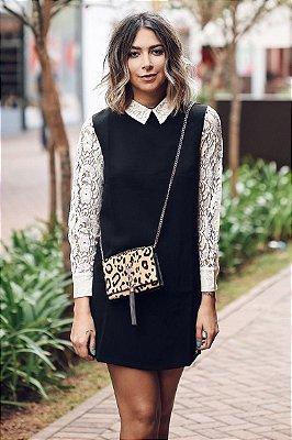 OUTLET | Vestido Sobreposição Camisa Renda