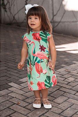 SALE | Vestido Piquet Estampa Folhagem Flamingo Blessinha