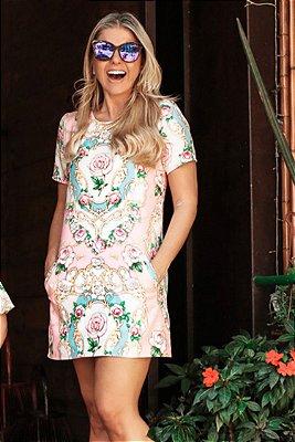 SALE| Vestido Estampa Flores Rosa