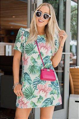 LANÇAMENTO | Vestido Crepe Estampa Folhas Tropical